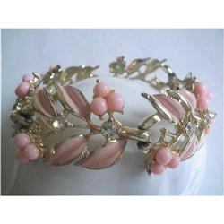 CORO Pink Enamel, Rhinestone & Lucite Bead #2376013