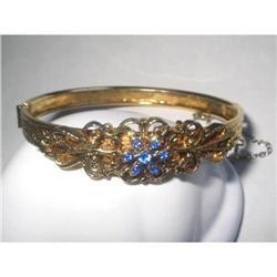 Hinged Bangle Ornate Gold Tone / Rhinestones  #2376016