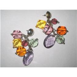 Chandelier Earrings Jewel Tone Faceted Lucite  #2376023