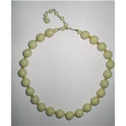 "Lucite Bead Choker Necklace 16-1/2""  Celery #2376027"