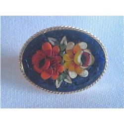 Deco Mosaic Black/ Multi Colour  Floral Brooch #2376031
