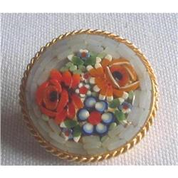 Art Deco Micro Mosaic Round Floral Brooch Pin  #2376032