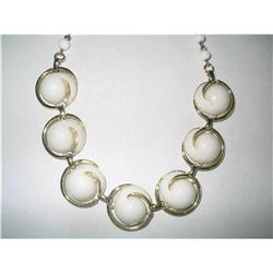 Thermoset Lucite & Milk Glass Necklace & #2376044