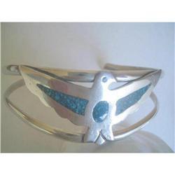 Alpaca Silver & Turquoise Thunderbird Bangle  #2376045