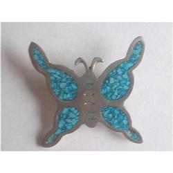 Butterfly Brooch Alpaca Silver Turquoise Inlay #2376046
