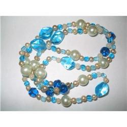 "Opera Length  Blue Glass, & Lucite Necklace 32""#2376047"