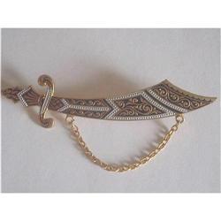Spanish Damascene Sabre Sword Brooch #2376049