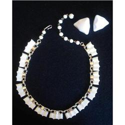 White Thermoset Lucite Necklace & Earrings #2376050