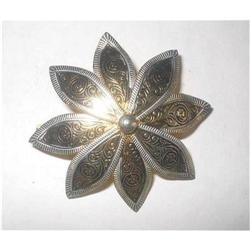 Spanish Damascene Toledo Ware Flower Brooch  #2376052