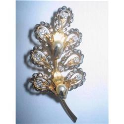 Damascene Flower Spray  Brooch - Toledoware #2376053