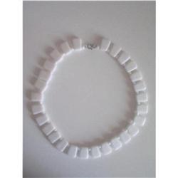 Art Deco White Milk Glass Bead Choker Necklace #2376056