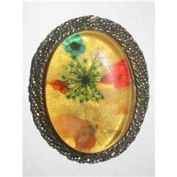 Embedded Lucite Brooch/Pin Flowers & Ferns #2376059