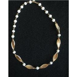 Lucite Bead Necklace, Etched Swirl Leaves #2376061