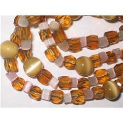 """Art Deco Necklace Glass & Lucite 30"""" #2376062"""