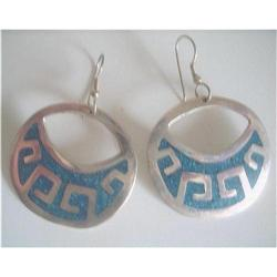 Earrings Alpaca Silver & Turquoise Mexico #2376068