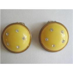 Art Deco Lucite and Rhinestone Studded Earrings#2376069
