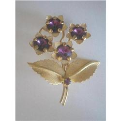 Art Deco Rhinestone & Goldtone Flower Brooch  #2376075