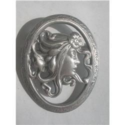 Art Nouveau Revival Pewter Brooch Figural #2376076