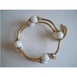 Art Deco White Milk Glass Wrap Bangle #2376080