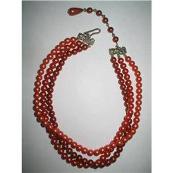 Pretty Russet Reds Beaded Choker Necklace #2376084