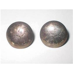 Vintage Silver Etched Button Earrings Birks #2376087