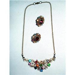 Art Deco Rhinestone Necklace & Earrings Set #2376088