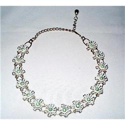 Necklace of Rhinestones & Enamel Flowers #2376097