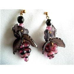 Art Glass Dangle Earrings Grape Clusters #2376106