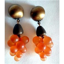 Dangle Chandelier Earrings Lucite Grapes #2376107