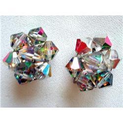 Vint. Czech Crystal Faceted AB Glass Earrings  #2376113
