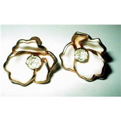 Art Deco Enamel & Rhinestone Earrings - Dogwood#2376115