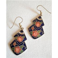 Earrings Enamel Guilloche Art Deco Style #2376117