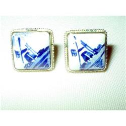 Delft Earrings Holland Hand Painted Art Deco #2376118