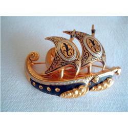 Damascene Spanish Toledoware Galleon Brooch #2376119
