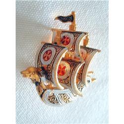 Damascene Spanish Toledoware Galleon Brooch #2376121