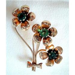 Brooch GF Vermeil Flower Spray Rhinestones #2376122