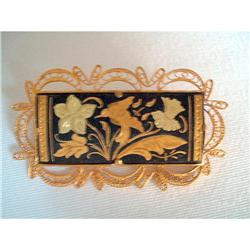Art Deco GF Spanish Damascene Filigree Brooch #2376123