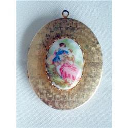 Vintage Photo Locket Inset Fragonard Porcelain #2376124