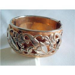 Art Nouveau Repousse Hinged Bangle Bracelet #2376125