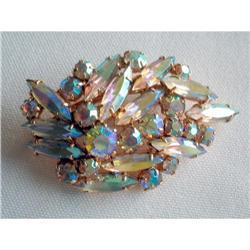 Large AB Rhinestone Navette Leaf Brooch Pin #2376126
