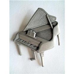 Huge JJ Jonette Pewter Piano Brooch - Signed #2376127
