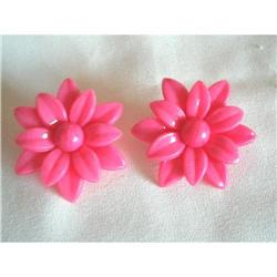 Huge Lucite Pop Art Pink Flower Earrings #2376132