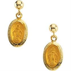 GOLD EARRINGS  MIRACULOUS MEDAL #2376134