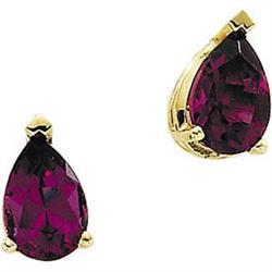 GOLD EARRINGS RHODOLITE GARNET PEARSHAPED #2376136