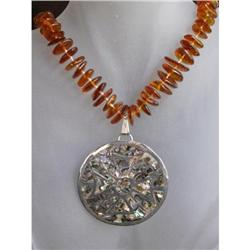 Natural Amber & MOP Sterling Pendant Necklace #2376139