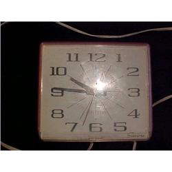 1950's Red Plastic Sessions Electric Wall Clock#2376157