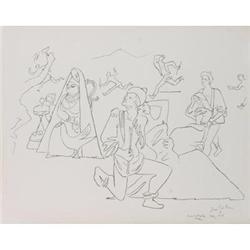 Cocteau Jean Mur de droite, 1956 Lithograph #2376238