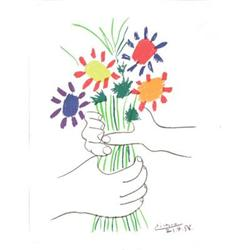 Pablo Picasso Hands with Flowers Lithograph #2376258