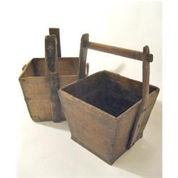 ANTIQUE WOOD FIREPLACE WELL BASKET BUCKET #2376630