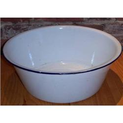 ANTIQUE ENAMEL WASH BASIN PLANTER 1930s #2376634